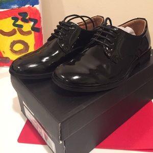 toddler 10 black shiny tuxedo shoes - round toe